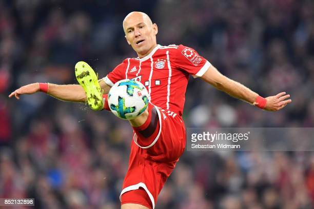 Arjen Robben of FC Bayern Muenchen plays the ball during the Bundesliga match between FC Bayern Muenchen and VfL Wolfsburg at Allianz Arena on...