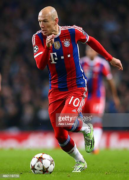 Arjen Robben of FC Bayern Munchen during the UEFA Champions League match between Manchester City FC and FC Bayern Munchen at Etihad Stadium on...