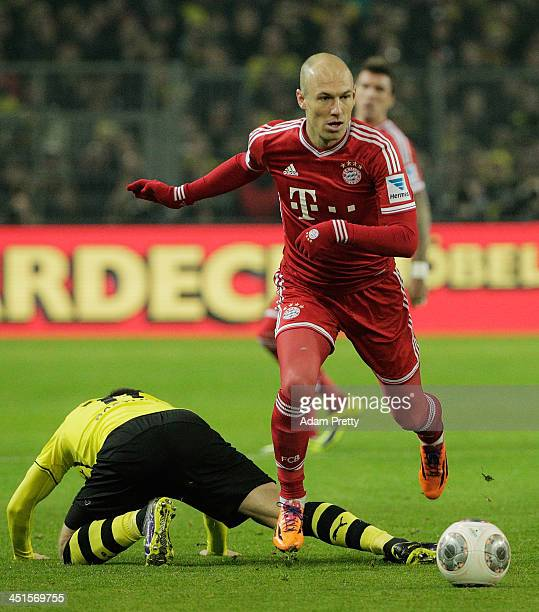 Arjen Robben of FCBayern controls the ball during the Bundesliga match between FC Bayern and Bor Dortmund Signal Iduna Park on November 23 2013 in...