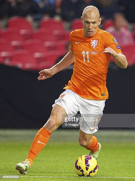 Arjen Robben of Holland during the match between Netherlands and Latvia on November 16 2014 at the Amsterdam Arena in Amsterdam The Netherlands