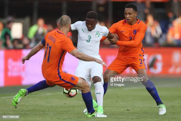Arjen Robben of Holland Gohi Bi Cyriac of Ivory Coast Kenny Tete of Hollandduring the friendly match between The Netherlands and Ivory Coast at the...