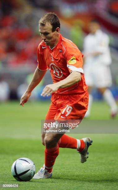 Arjen Robben of Holland in action during the UEFA Euro 2004 Group D match between Holland and Latvia at the Braga Municiple Stadium on June 23 2004...