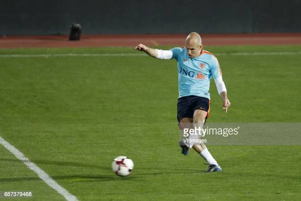 Arjen Robben of Hollandduring a training session prior to the FIFA World Cup 2018 qualifying match between Bulgaria and Netherlands on March 24 2017...