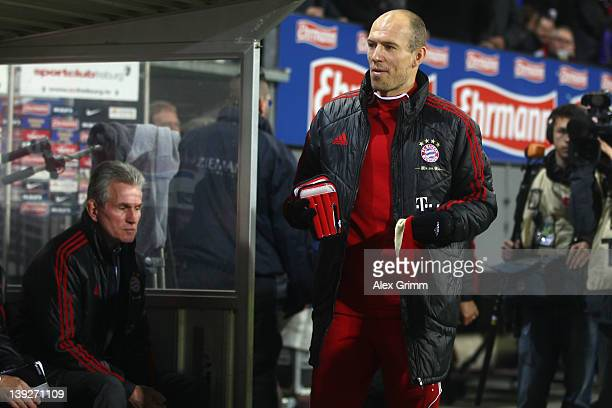 Arjen Robben of Muenchen arrives for the Bundesliga match between SC Freiburg and FC Bayern Muenchen at Mage Solar Stadium on February 18 2012 in...