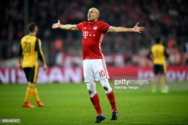 Arjen Robben of Muenchen celebrates after he scores the opening goal during the UEFA Champions League Round of 16 first leg match between FC Bayern...