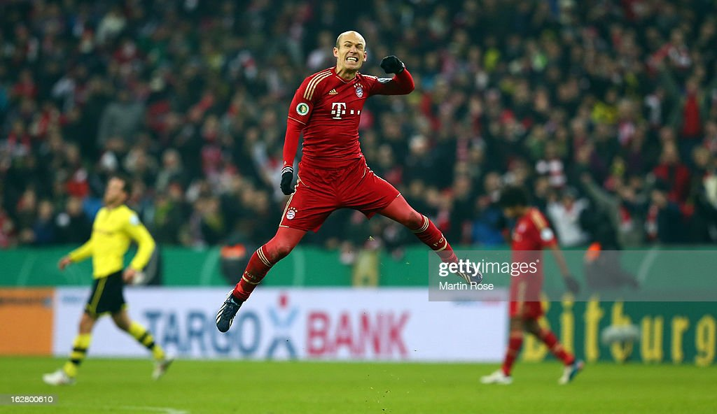 <a gi-track='captionPersonalityLinkClicked' href=/galleries/search?phrase=Arjen+Robben&family=editorial&specificpeople=194740 ng-click='$event.stopPropagation()'>Arjen Robben</a> of Muenchen celebrates after the DFB cup quarter final match between Bayern Muenchen and Borussia Dortmund at Allianz Arena on February 27, 2013 in Munich, Germany.
