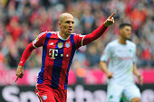 Arjen Robben of Muenchen celebrates his goal during the Bundesliga match between FC Bayern Muenchen and Hannover 96 at Allianz Arena on October 4...