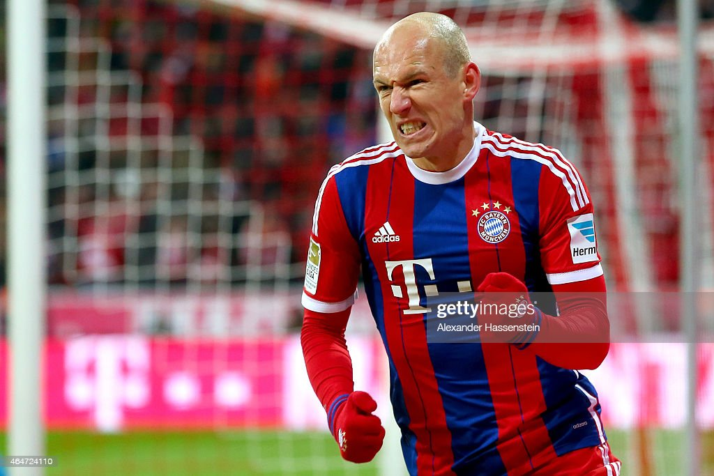 <a gi-track='captionPersonalityLinkClicked' href=/galleries/search?phrase=Arjen+Robben&family=editorial&specificpeople=194740 ng-click='$event.stopPropagation()'>Arjen Robben</a> of Muenchen celebrates scoring his team's third goal during the Bundesliga match between FC Bayern Muenchen and 1. FC Koeln at Allianz Arena on February 27, 2015 in Munich, Germany.