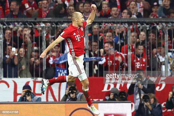Arjen Robben of Muenchen celebrates scoring the 3rd team goal during the Bundesliga match between Bayern Muenchen and Hertha BSC at Allianz Arena on...