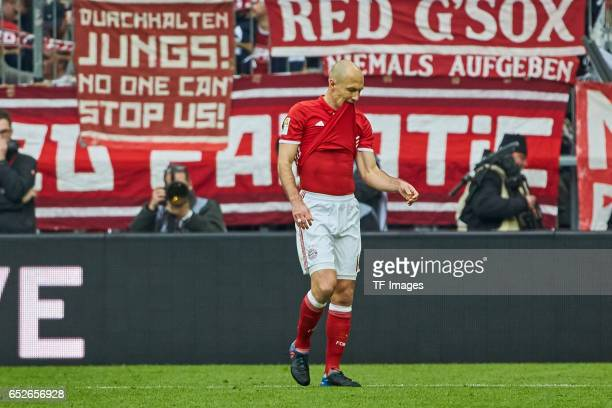 Arjen Robben of Muenchen gestures during the Bundesliga match between Bayern Muenchen and Eintracht Frankfurt at Allianz Arena on March 11 2017 in...