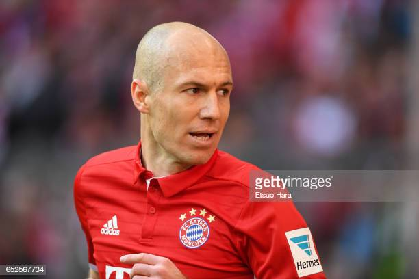 Arjen Robben of Muenchen in action during the Bundesliga match between Bayern Muenchen and Eintracht Frankfurt at Allianz Arena on March 11 2017 in...