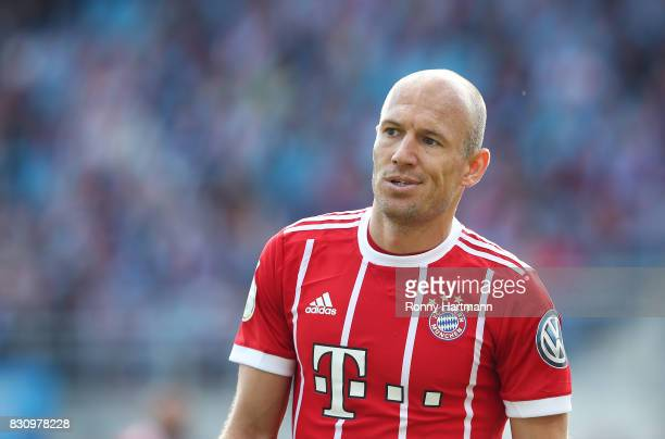 Arjen Robben of Muenchen looks on during the DFB Cup first round match between Chemnitzer FC and FC Bayern Muenchen at community4you Arena on August...