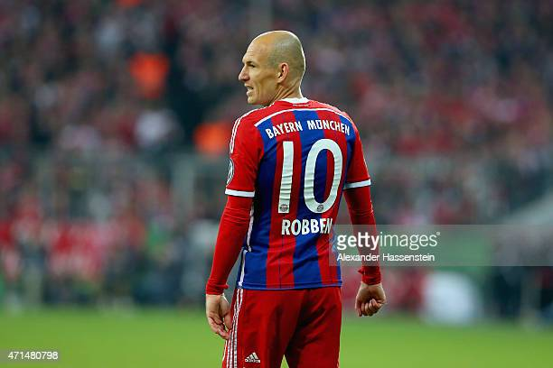 Arjen Robben of Muenchen looks on during the DFB Cup Semi Final match between FC Bayern Muenchen and Borussia Dortmund at Allianz Arena on April 28...