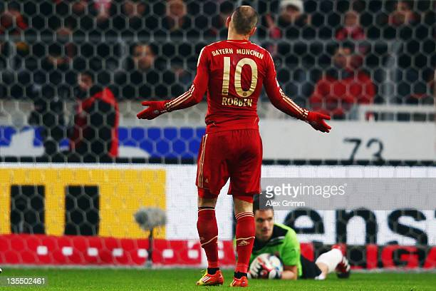 Arjen Robben of Muenchen reacts during the Bundesliga match between VfB Stuttgart and FC Bayern Muenchen at MercedesBenz Arena on December 11 2011 in...