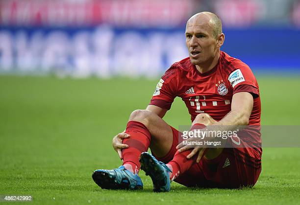Arjen Robben of Muenchen reacts during the Bundesliga match between FC Bayern Muenchen and Bayer Leverkusen at Allianz Arena on August 29 2015 in...