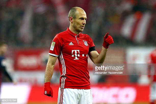 Arjen Robben of Muenchen reacts during the Bundesliga match between Bayern Muenchen and RB Leipzig at Allianz Arena on December 21 2016 in Munich...