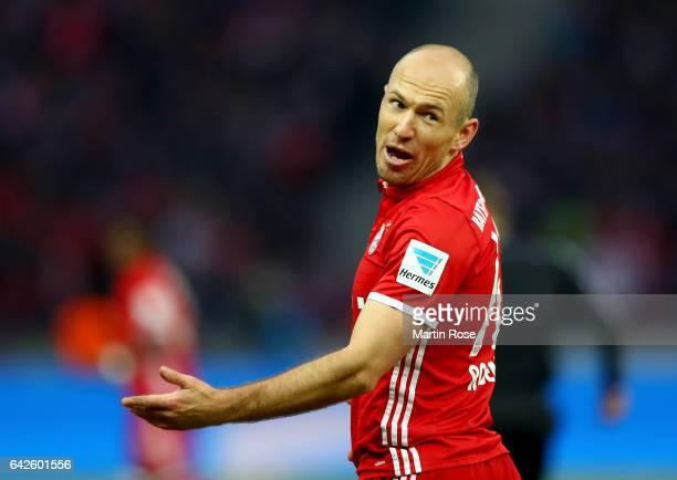 Arjen Robben of Muenchen reacts during the Bundesliga match between Hertha BSC and Bayern Muenchen at Olympiastadion on February 18 2017 in Berlin...