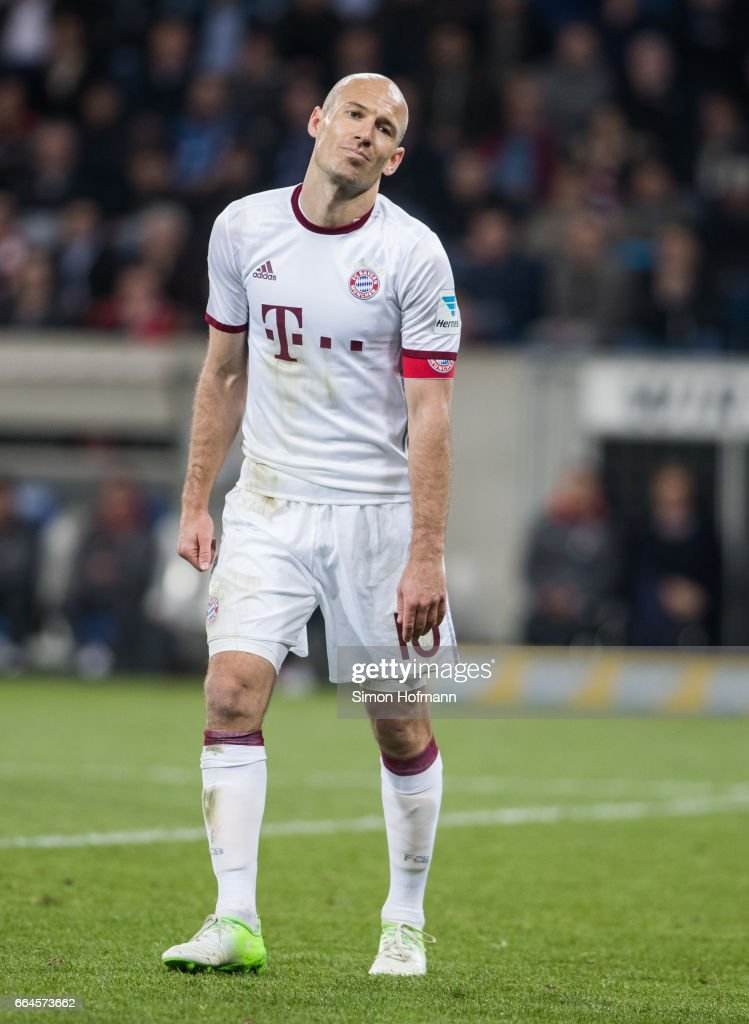 Arjen Robben of Muenchen reacts during the Bundesliga match between TSG 1899 Hoffenheim and Bayern Muenchen at Wirsol Rhein-Neckar-Arena on April 4, 2017 in Sinsheim, Germany.