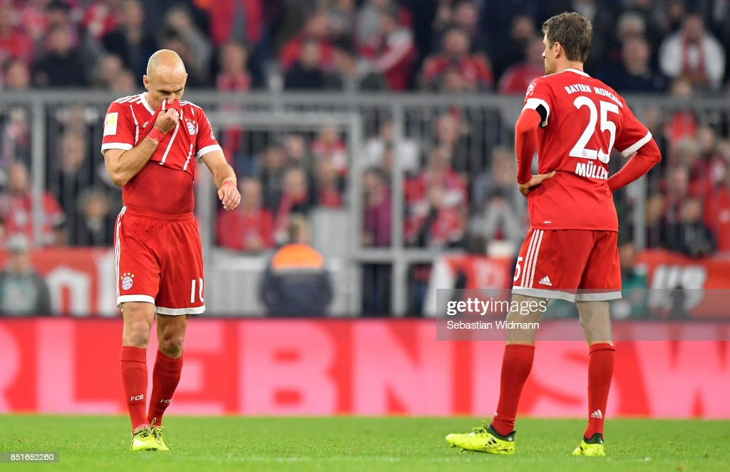 Arjen Robben of Muenchen reacts during the Bundesliga match between FC Bayern Muenchen and VfL Wolfsburg at Allianz Arena on September 22, 2017 in Munich, Germany.