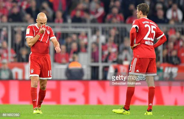 Arjen Robben of Muenchen reacts during the Bundesliga match between FC Bayern Muenchen and VfL Wolfsburg at Allianz Arena on September 22 2017 in...