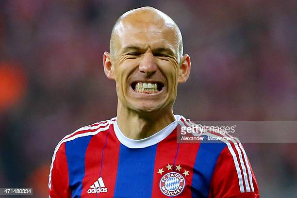 Arjen Robben of Muenchen reacts during the DFB Cup Semi Final match between FC Bayern Muenchen and Borussia Dortmund at Allianz Arena on April 28...
