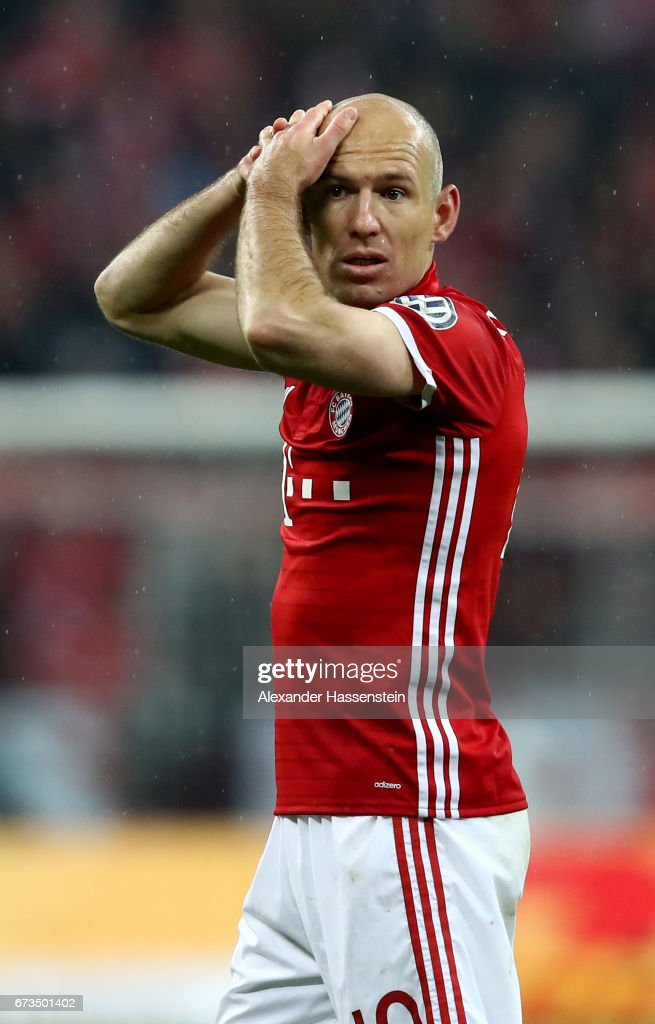 Arjen Robben of Muenchen reacts during the DFB Cup semi final match between FC Bayern Muenchen and Borussia Dortmund at Allianz Arena on April 26, 2017 in Munich, Germany.