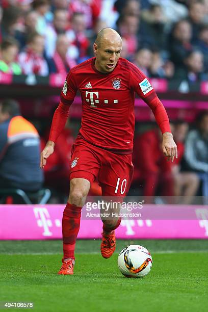 Arjen Robben of Muenchen runs with the ball during the Bundesliga match between FC Bayern Muenchen and 1 FC Koeln at Allianz Arena on October 24 2015...