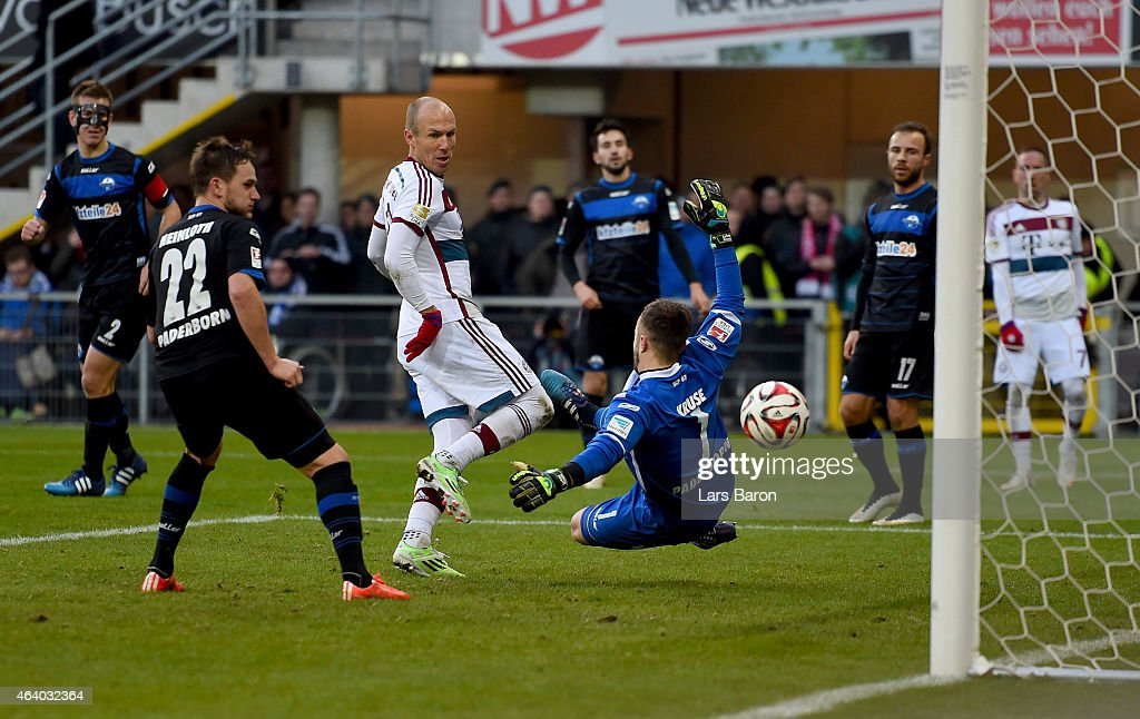 Arjen Robben of Muenchen scores his teams six goal during the Bundesliga match between SC Paderborn and FC Bayern Muenchen at Benteler Arena on...