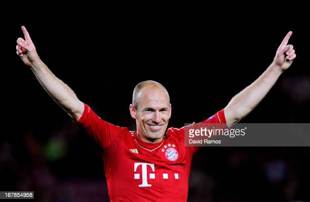 Arjen Robben of Munich celebrates reaching the final following his team's 30 victory during the UEFA Champions League semi final second leg match...