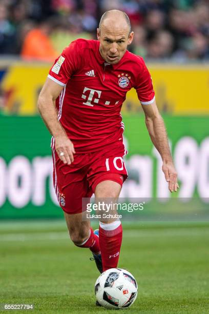 Arjen Robben of Munich in action during the Bundesliga match between Borussia Moenchengladbach and Bayern Muenchen at BorussiaPark on March 19 2017...