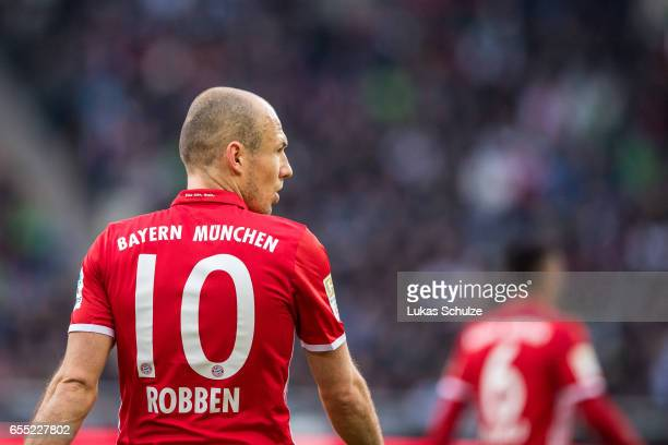 Arjen Robben of Munich is seen during the Bundesliga match between Borussia Moenchengladbach and Bayern Muenchen at BorussiaPark on March 19 2017 in...