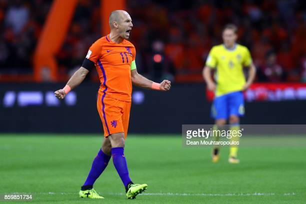 Arjen Robben of Netherlands celebrates scoring the 1st goal during the FIFA 2018 World Cup Qualifier between Netherlands and Sweden at the Amsterdam...