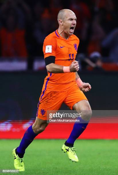 Arjen Robben of Netherlands celebrates scoring the 2nd goal during the FIFA 2018 World Cup Qualifier between Netherlands and Sweden at the Amsterdam...