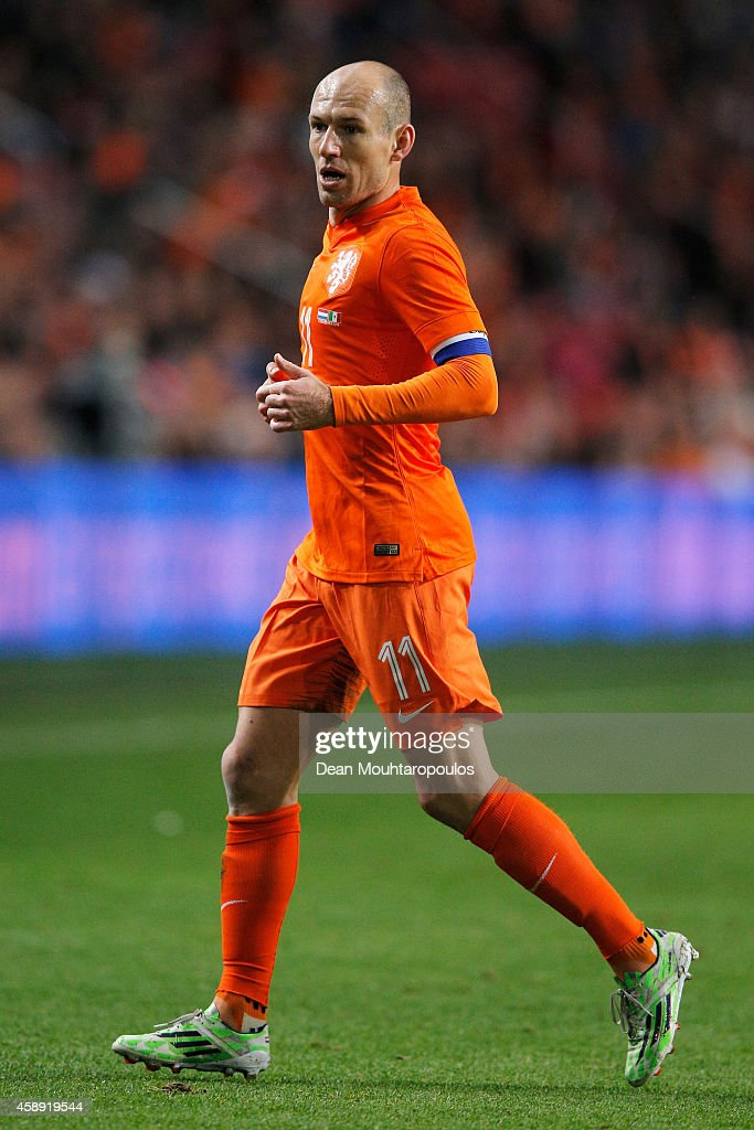 Arjen Robben of Netherlands in action during the international friendly match between Netherlands and Mexico held at the Amsterdam ArenA on November...