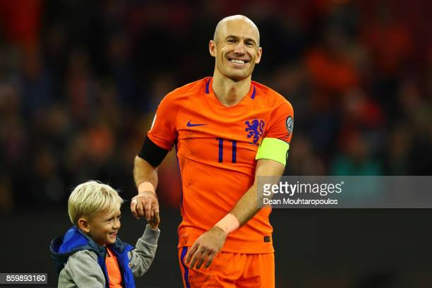 Arjen Robben of Netherlands smiles with his children after the FIFA 2018 World Cup Qualifier between Netherlands and Sweden at the Amsterdam Arena on...