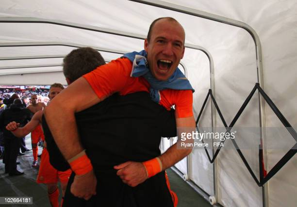 Arjen Robben of the Netherlands celebrates in the tunnel after the 2010 FIFA World Cup South Africa Semi Final match between Uruguay and the...