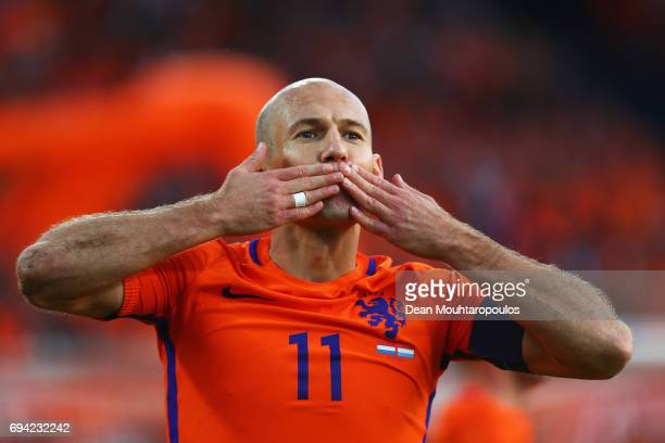 Arjen Robben of the Netherlands celebrates scoring his teams first goal of the game during the FIFA 2018 World Cup Qualifier between the Netherlands...