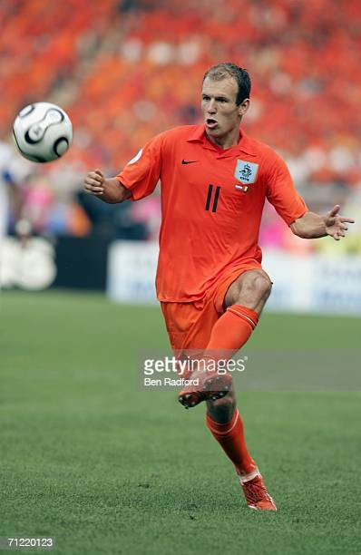 Arjen Robben of the Netherlands controls the ball during the FIFA World Cup Germany 2006 Group C match between Netherlands and Ivory Coast at the...