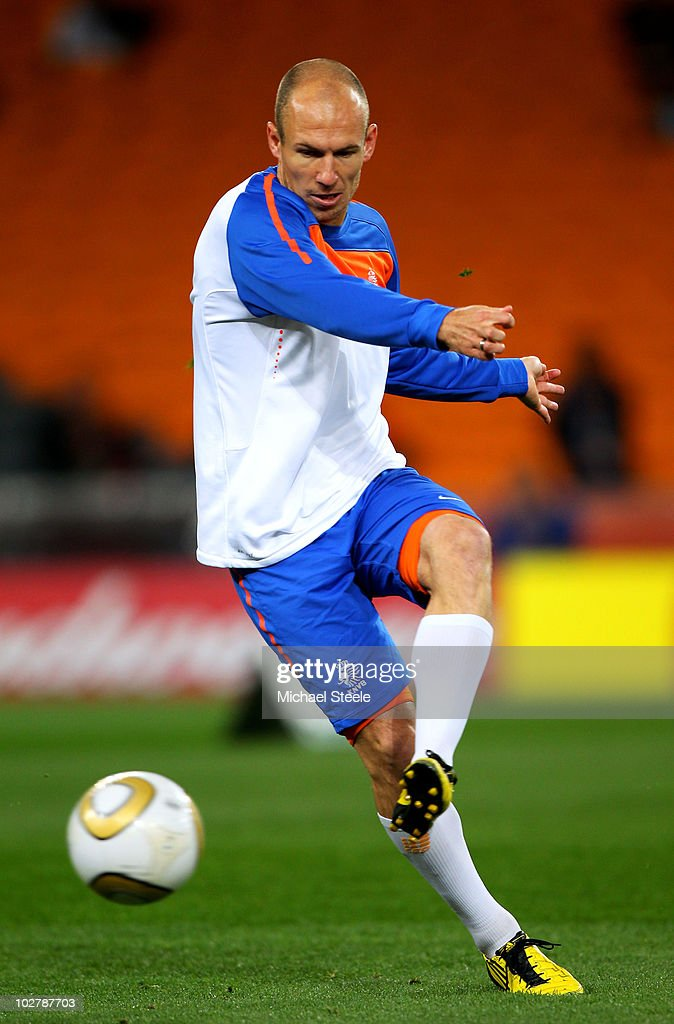 Arjen Robben of the Netherlands in action during a Netherlands training session, ahead of the 2010 FIFA World Cup Final, at Soccer City Stadium on July 10, 2010 in Johannesburg, South Africa.