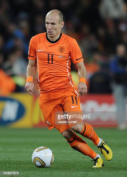 Arjen Robben of the Netherlands in action during the 2010 FIFA World Cup South Africa Final match between Netherlands and Spain at Soccer City...