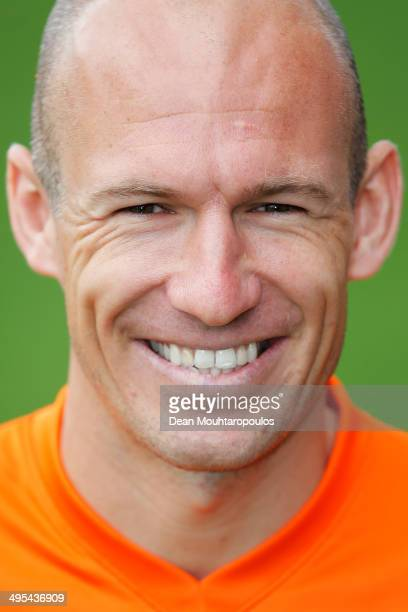 Arjen Robben of the Netherlands poses prior to the Netherlands training session held at the AFAS Stadion on June 3 2014 in Alkmaar Netherlands