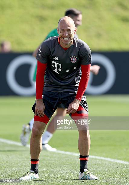 Arjen Robben smiles during a training session at day 4 of the Bayern Muenchen training camp at Aspire Academy on January 6 2017 in Doha Qatar