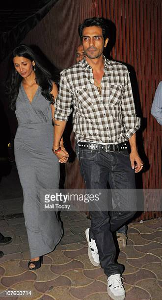 Arjun and Mehr Rampal at the wedding anniversary celebrations of Fardeen Natasha Khan in Mumbai on December 14 2010