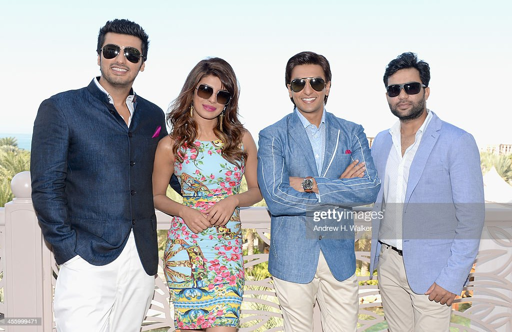 Arjun Kapoor, <a gi-track='captionPersonalityLinkClicked' href=/galleries/search?phrase=Priyanka+Chopra&family=editorial&specificpeople=228954 ng-click='$event.stopPropagation()'>Priyanka Chopra</a>, Ranveer Singh and Ali Abbas Zafar attend the 'Gunday' photocall during day eight of the 10th Annual Dubai International Film Festival held at the Madinat Jumeriah Complex on December 13, 2013 in Dubai, United Arab Emirates.