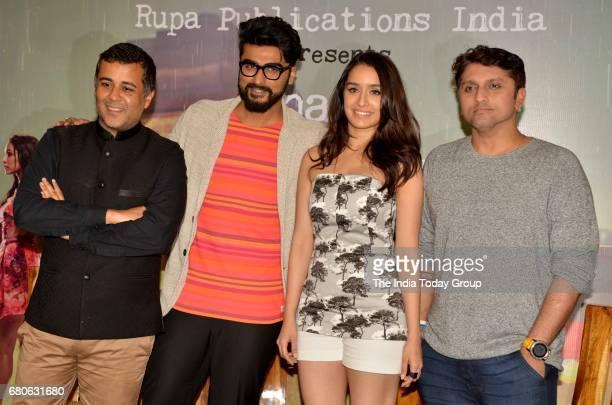 Arjun Kapoor Shraddha KapoorMohit Suri and Chetan Bhagat during the launch of Chetan Bhagats book Half Girlfriend in Mumbai
