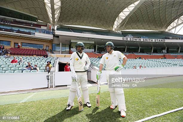 ADELAIDE AUSTRALIA Arjun Nair and Josh Inglis of Australia open the batting during the tour match between South Africa and the Cricket Australia XI...