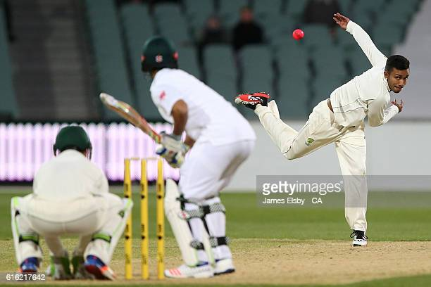 Arjun Nair of Australia bowls during the tour match between South Africa and the Cricket Australia XI at Adelaide Oval on October 22 2016 in Adelaide...