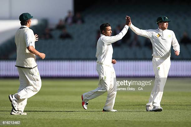 Arjun Nair of Australia celebrates the wicket of Temba Bavuma of South Africa during the tour match between South Africa and the Cricket Australia XI...