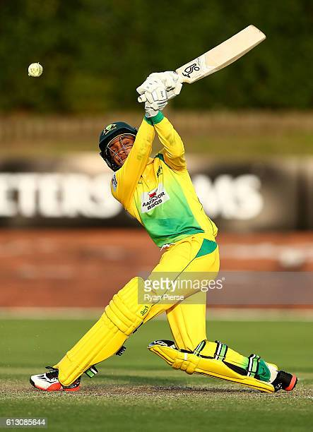 Arjun Nair of CA XI bats during the Matador BBQs One Day Cup match between New South Wales and the Cricket Australia XI at Hurstville Oval on October...