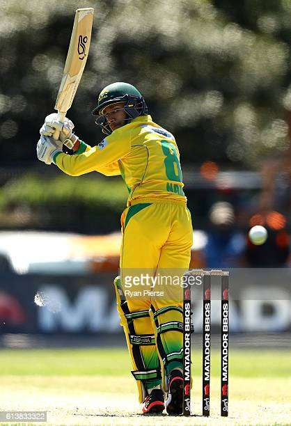 Arjun Nair of CA XI bats during the Matador BBQs One Day Cup match between Victoria and the Cricket Australia XI at North Sydney Oval on October 11...